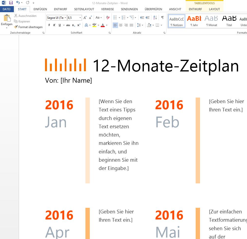 12 Monate Zeitplan