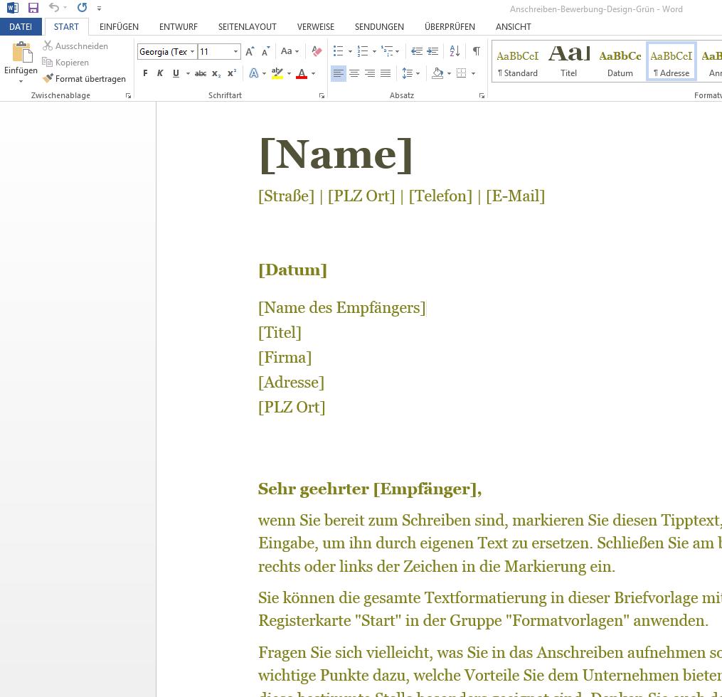 Anschreiben Bewerbung In Grün Wordvorlagede