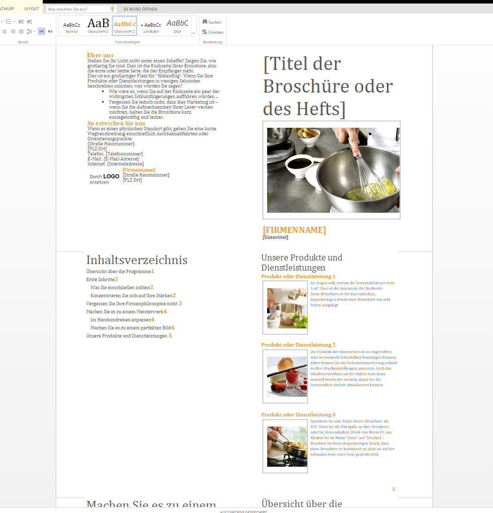 Broschüre Produkte und Dienstleistungen – Wordvorlage.de