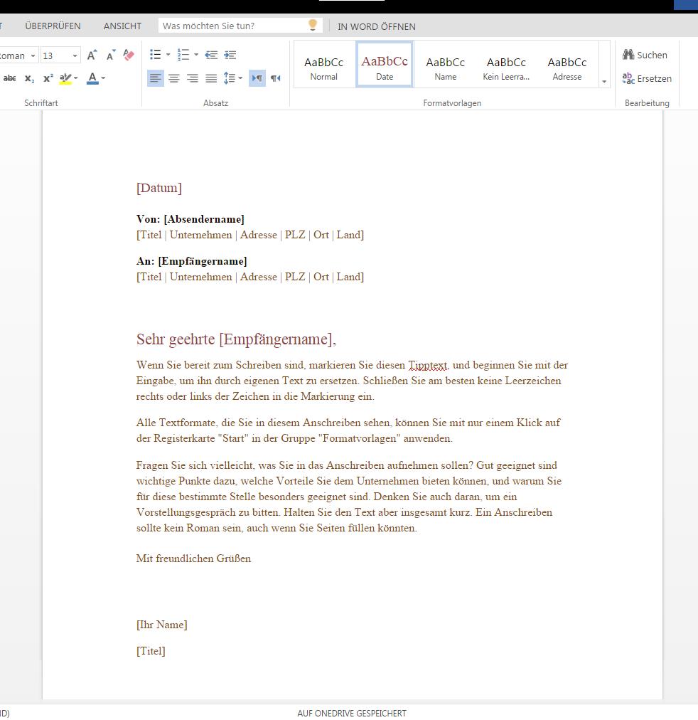 Formeller Geschäftsbrief Wordvorlagede