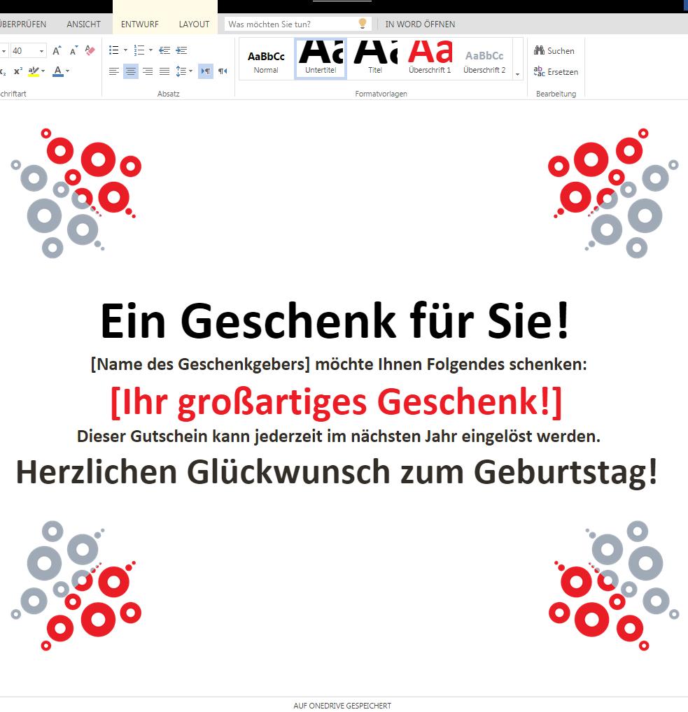 Geschenkgutschein 1 – Wordvorlage.de