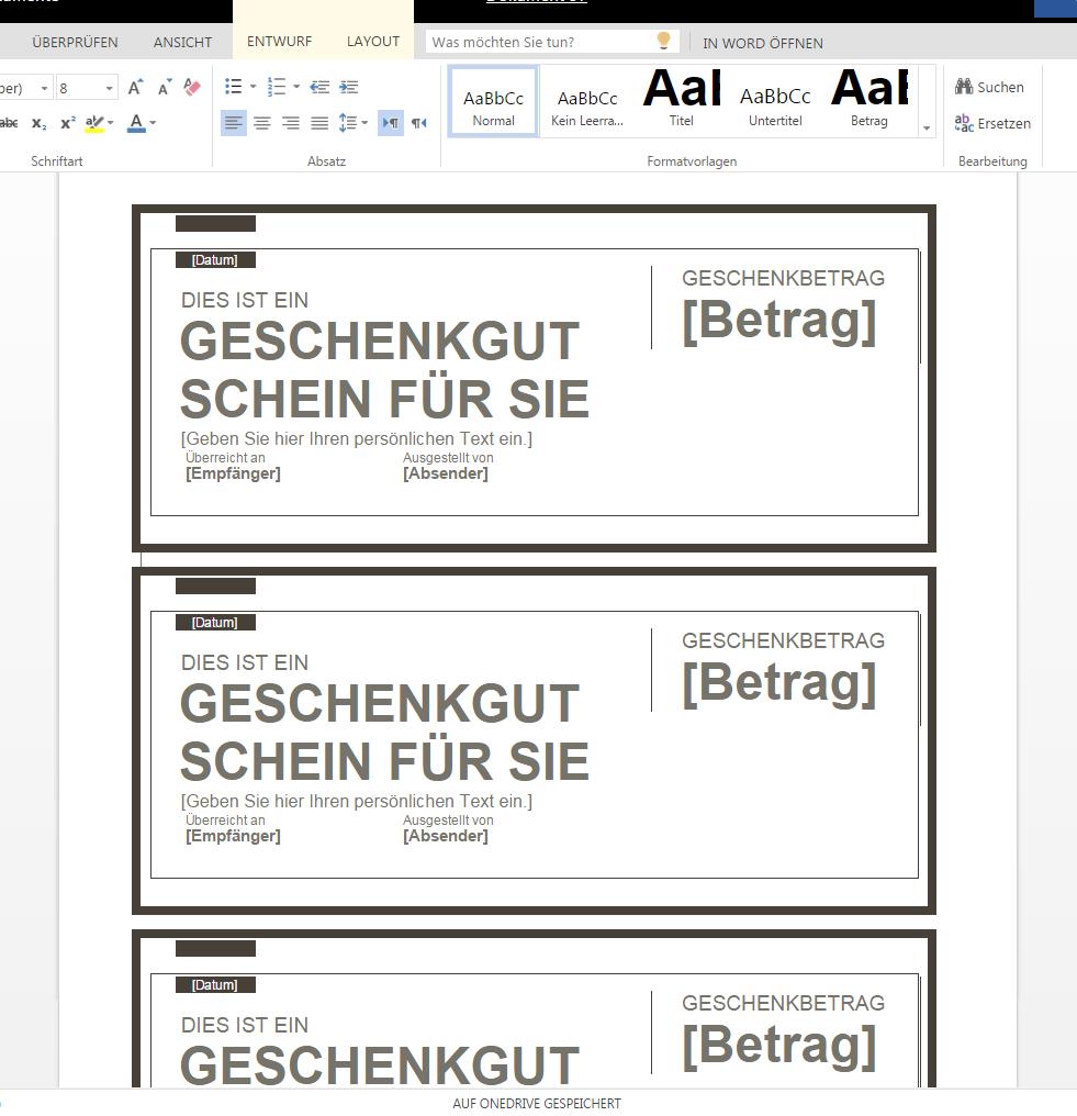 Geschenkgutschein 2 – Wordvorlage.de