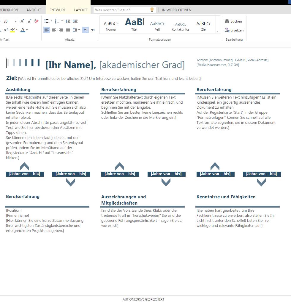 Lebenslauf Zeitachse – Wordvorlage.de