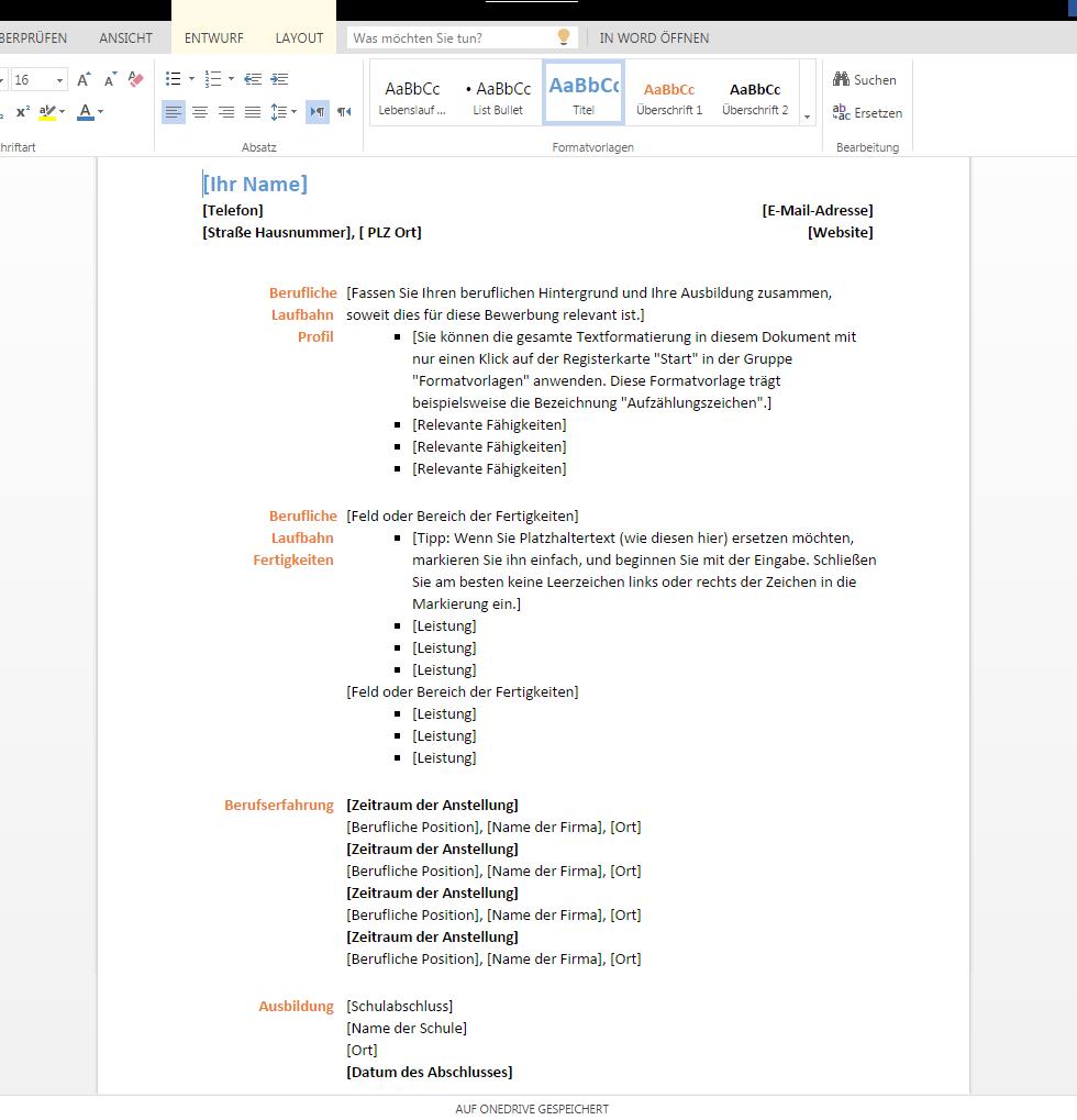 Lebenslauf Funktional als Download – Wordvorlage.de