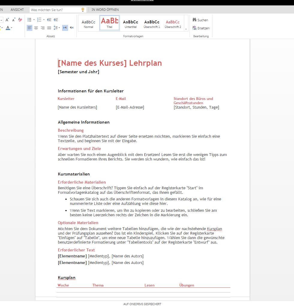 Lehrplan zum Downloaden – Wordvorlage.de