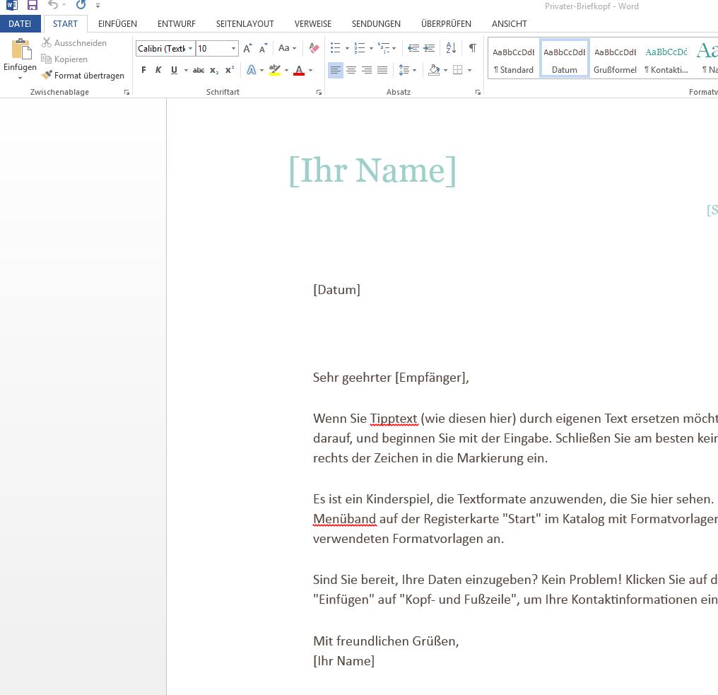 Vorlage Privater Briefkopf Auf Wordvorlagede