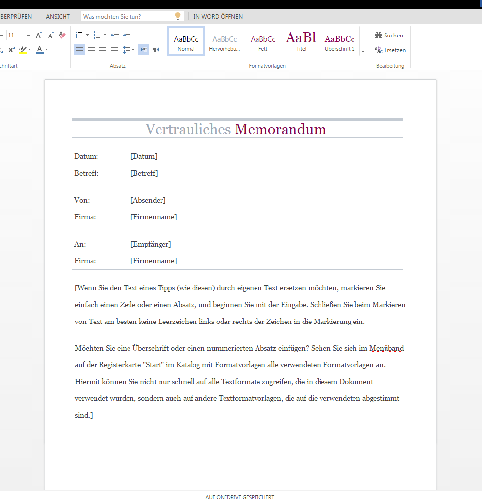 Vertrauliches Memo als Download – Wordvorlage.de