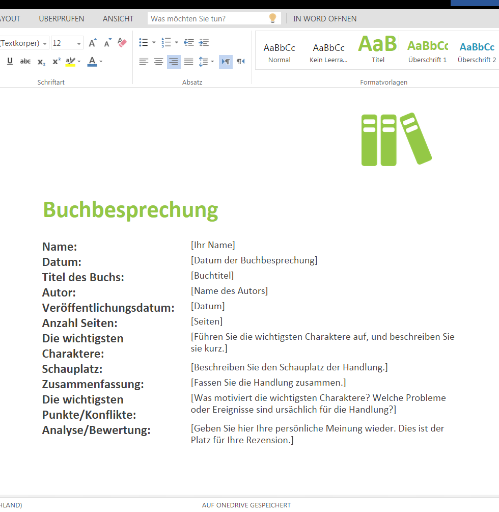 Buchbesprechung Als Download Wordvorlage De