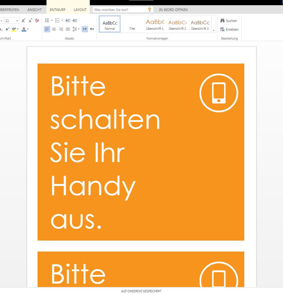 Oranges Poster Handy ausschalten