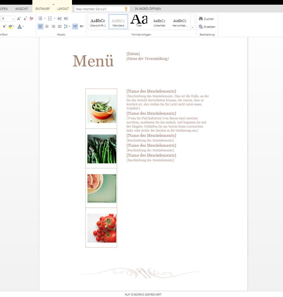 Speisekarte schnell zusammengestellt – Wordvorlage.de